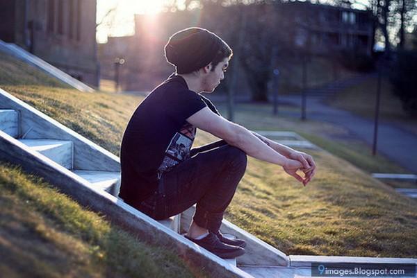 Sad, alone, boy, cute, waiting, someone, sunset