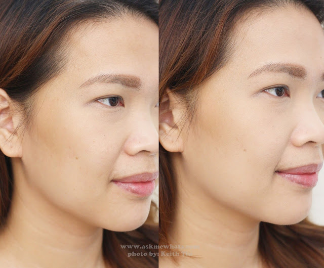 Before and after photo using Etude House Precious Mineral BB Compact Bright Fix Natural Beige