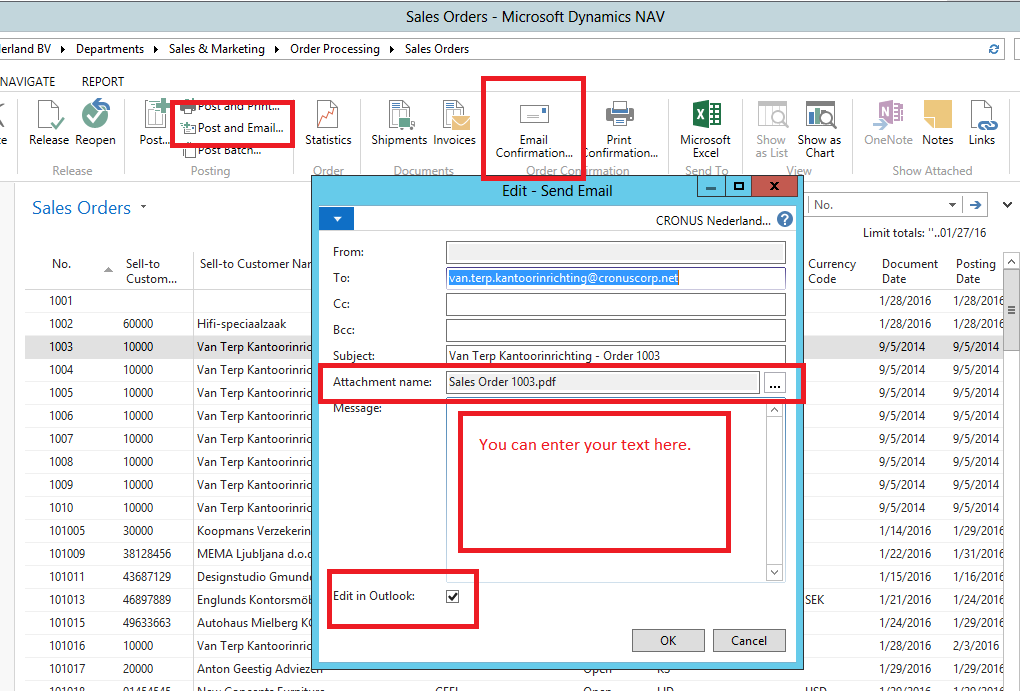 Send Documents as Email in NAV2015 - Microsoft Dynamics ... Pictures In Dynamics Nav Email Message