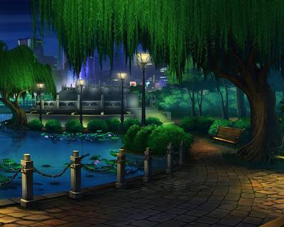 Parque de la ciudad junto al lago y las flores de loto