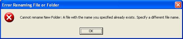 kotak dialog pesan error saat membuat file atau folder autorun.inf