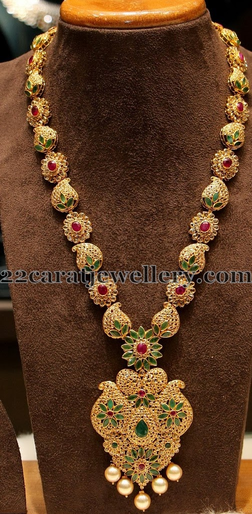 Flower and Mango Clasps Long Chain - Jewellery Designs