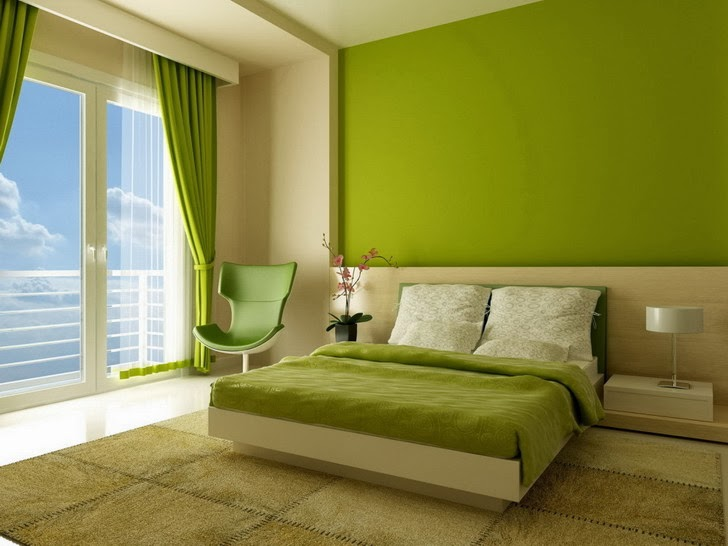 Bedroom with Green Walls 728 x 546