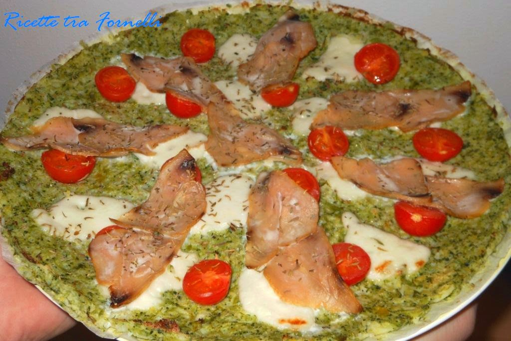 finta pizza di cavoli e pesce spada affumicato