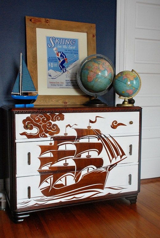 painted furniture stencil blue ribbon
