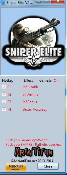 Sniper Elite V2 V1.14 Trainer +4 MrAntiFun