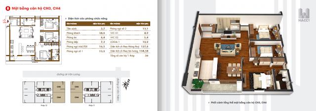 mặt bằng thiết kế căn hộ ch3 ch4 diện tích 134.34m2 chung cư hacc1