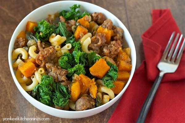 A healthy new chili mac dinner: butternut squash, sausage and kale, served Cincinnati-chili-style over pasta