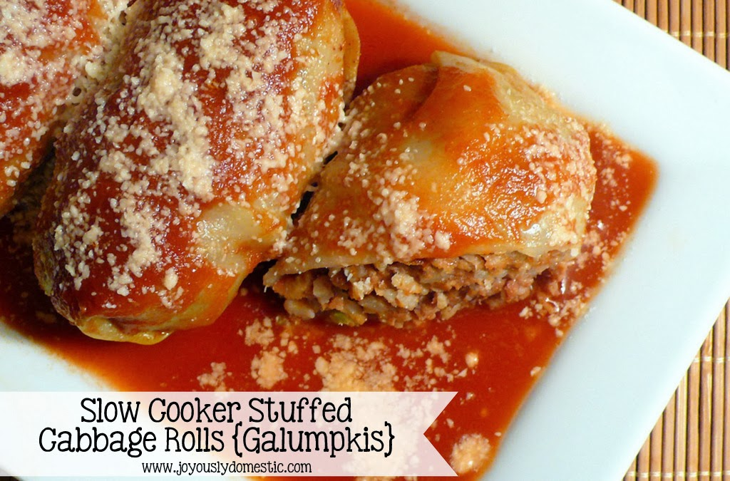 Joyously Domestic: Slow Cooker Stuffed Cabbage Rolls {Galumpkis}