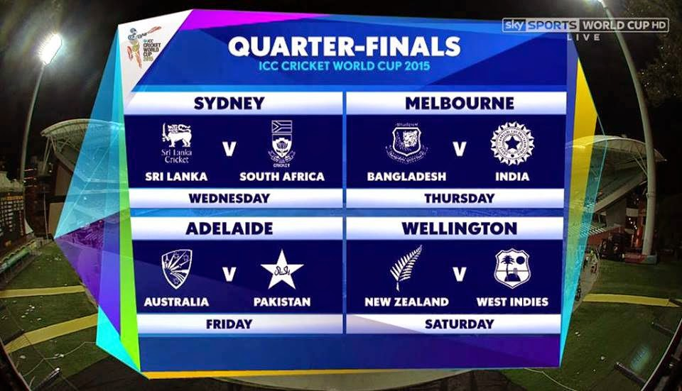 Quarter Final Teams List and Schedule ICC Cricket World cup 2015 ...