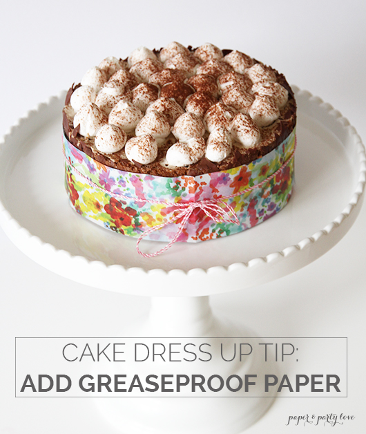 Dress up a store bought cake with greaseproof paper