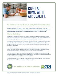CRI Indoor Air Quality Fact Sheet for Carpet Retailers, Consumers