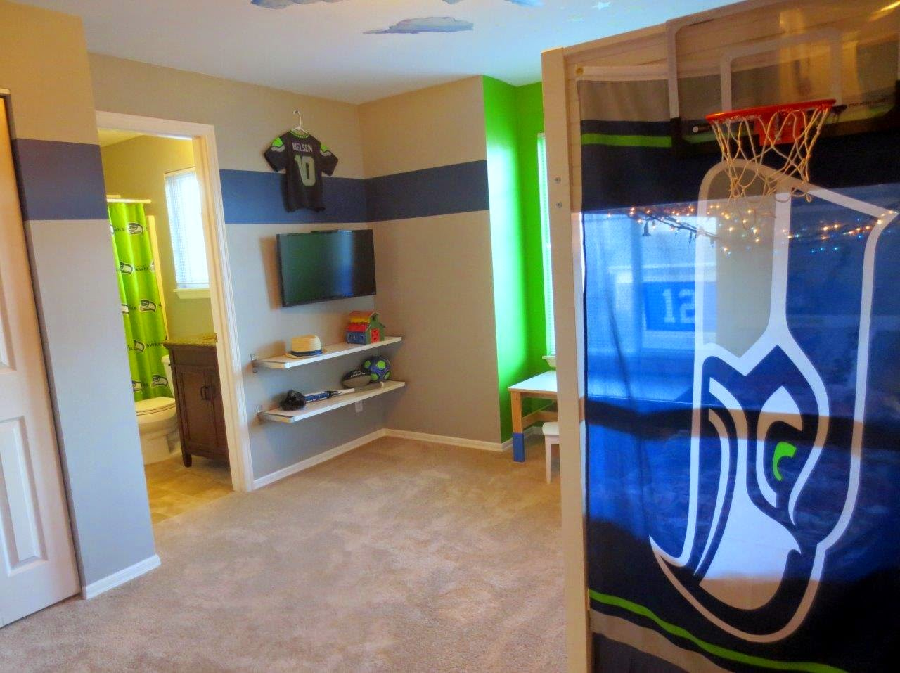 The Blue Stripe Around Room And Limiting Green To Small Nook Shower Curtain Make All Seahawks Color Present No Matter Where You