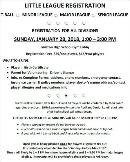 1-28 Galeton Little League Registration