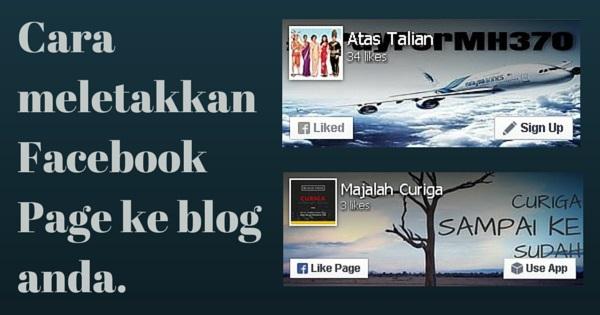 Cara pasang Facebook Page ke blog.