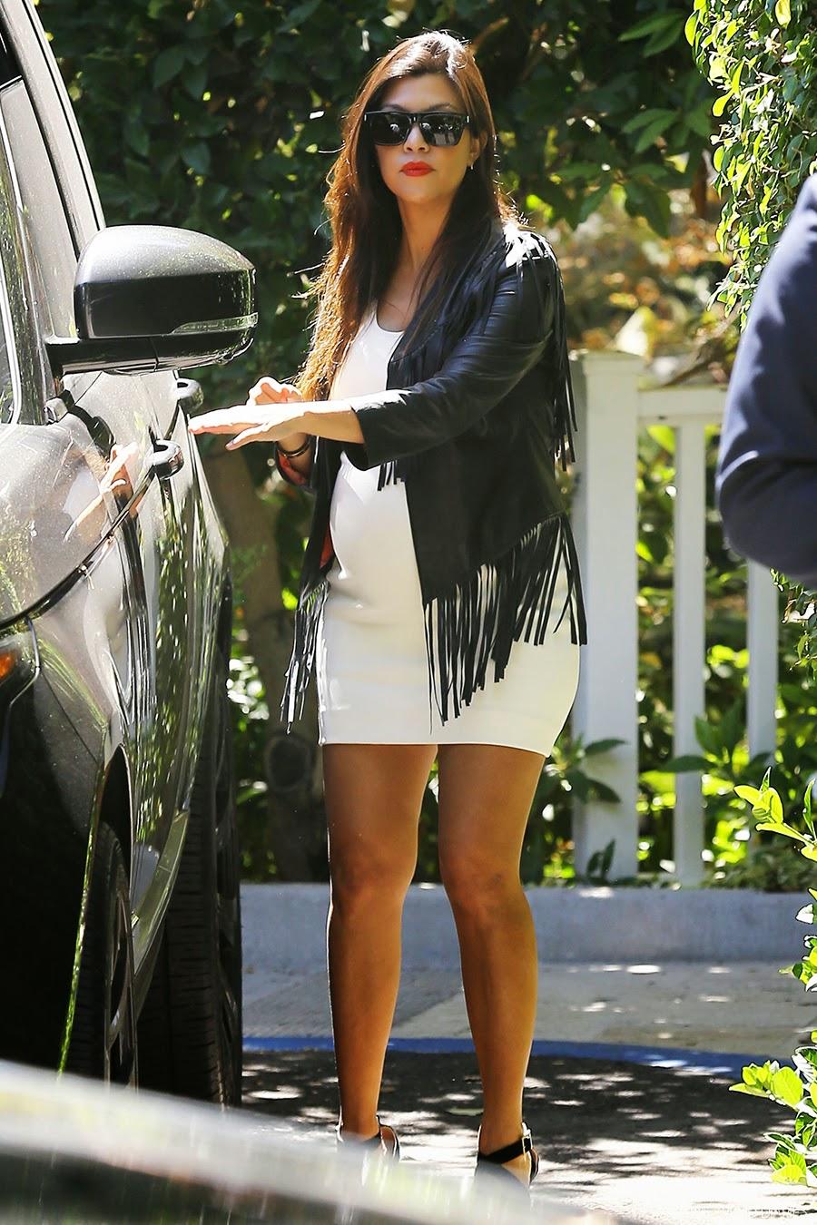 Style celebrity style black fringe leather jacket short white dress