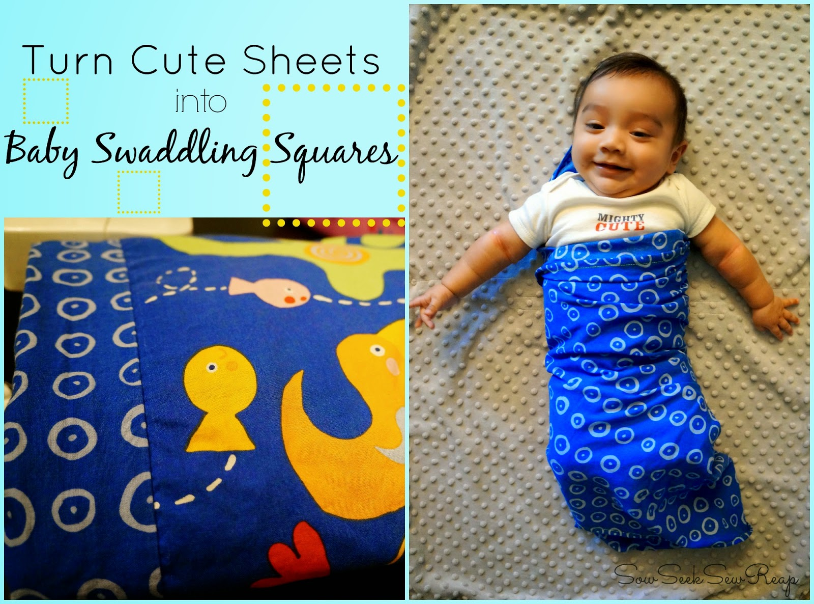 SWADDLING SQUARES, REUSING BED SHEETS, BED SHEETS INTO SWADDLING SQUARES