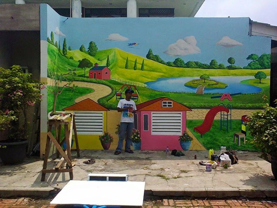 Lukisan dinding tk for Mural kartun