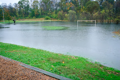 flooded soccer field in Maryland. frankenstorm.