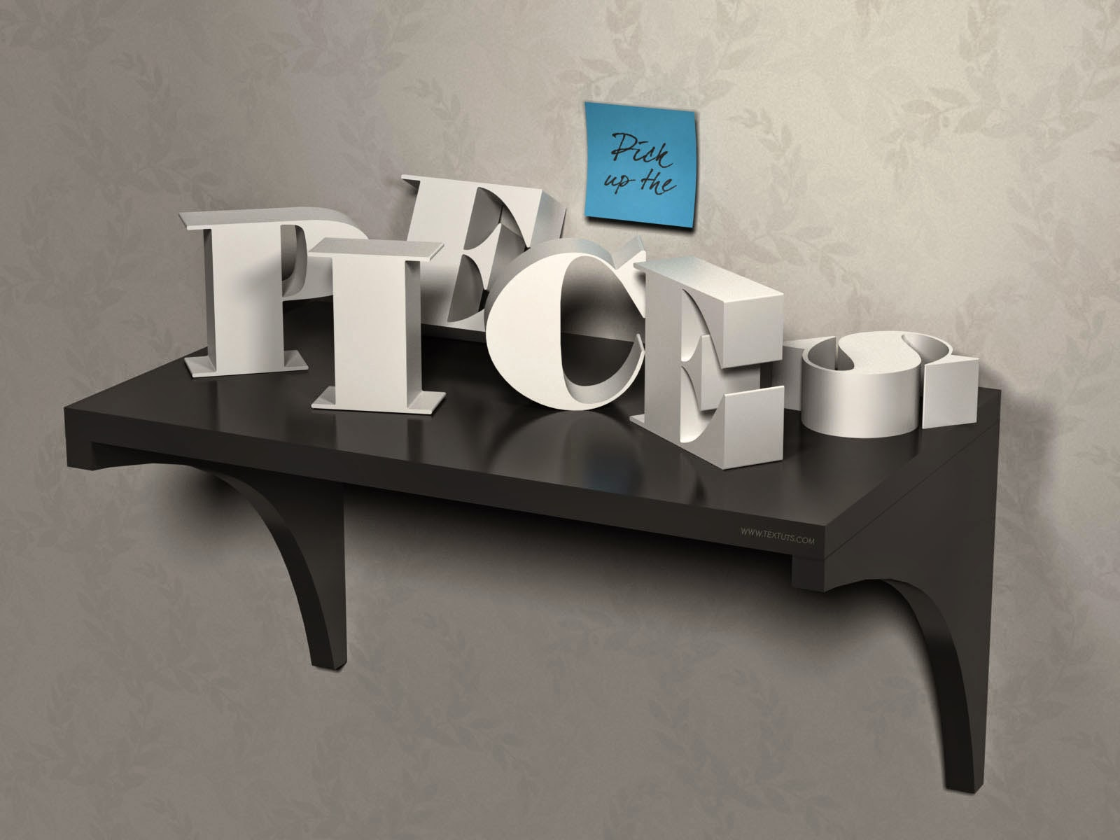 3D Letters on a Shelf using Photoshop CC