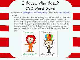 http://www.teacherspayteachers.com/Product/Circus-Cat-I-haveWho-has-CVC-Word-Game-1127600