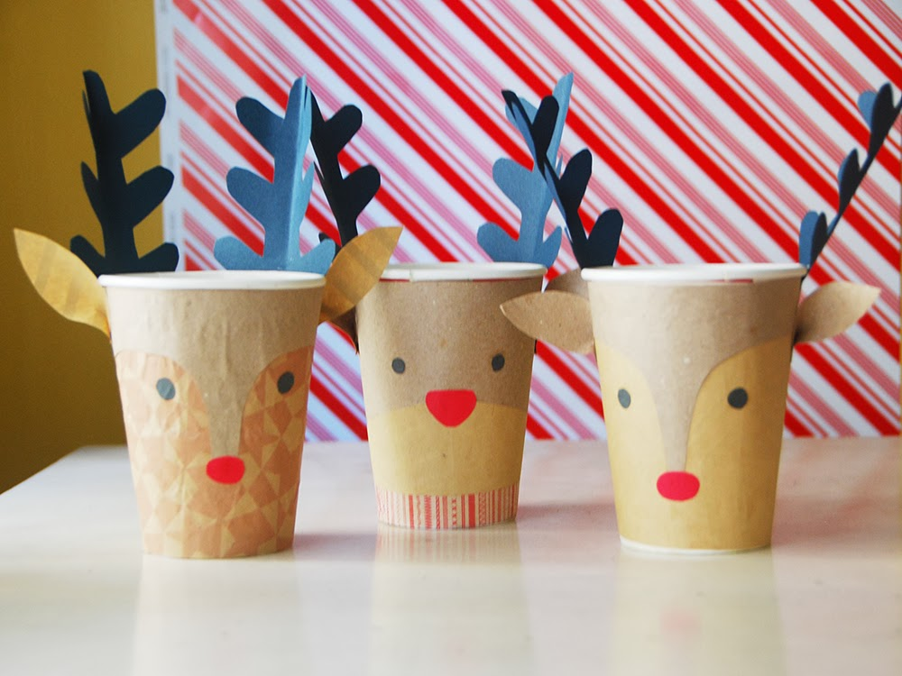 The Pink Doormat Reindeer Christmas Cups