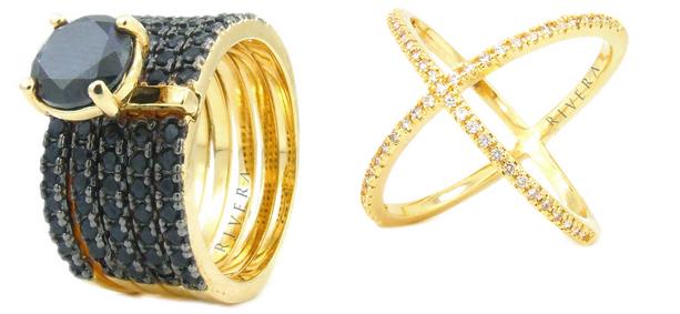 folheados a ouro semi joia aneis cravejados zirconias negras