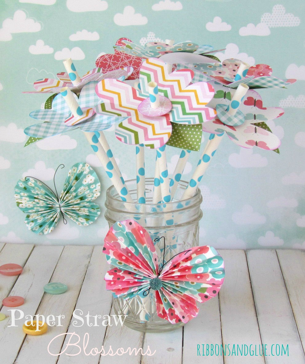 Add Paper Flower Blossoms onto paper straws