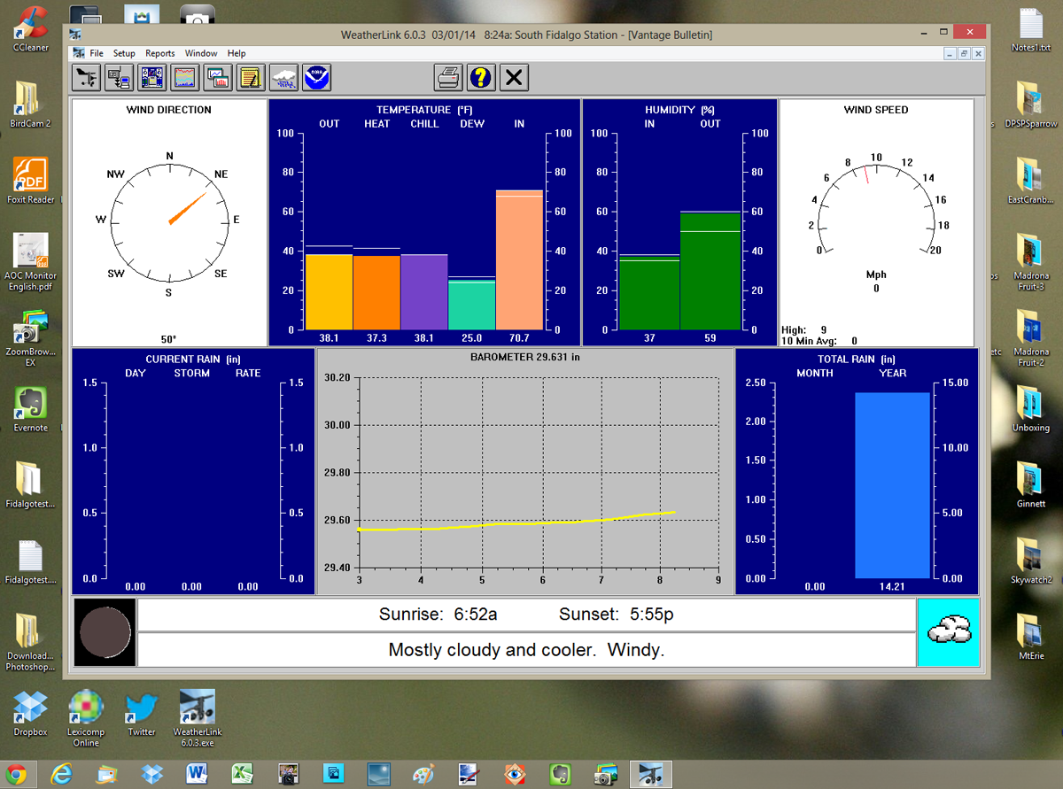 Davis WeatherLink Vantage Bulletin Screen Shot