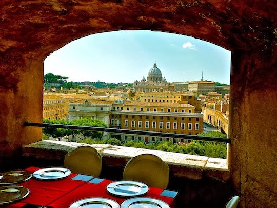 View on St. Peter's Basilica Dome from the Castle St. Angelo's Restaurant