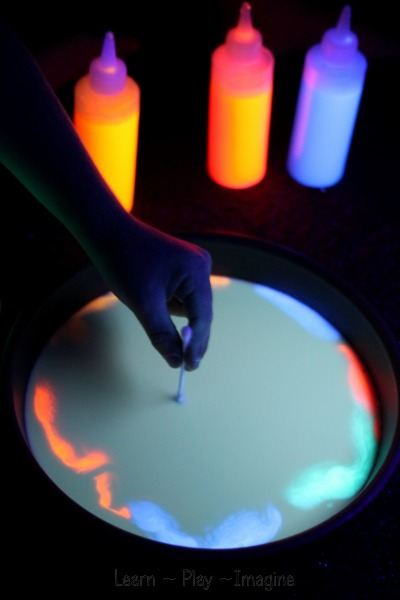 A cool twist on the classic magic milk experiment - make it GLOW!