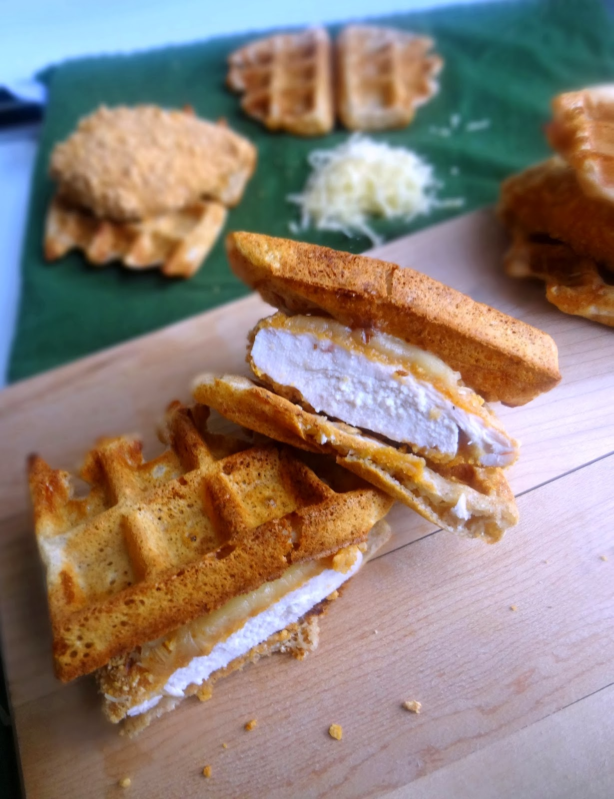 savory waffles with baked crunchy chicken and cheese of course