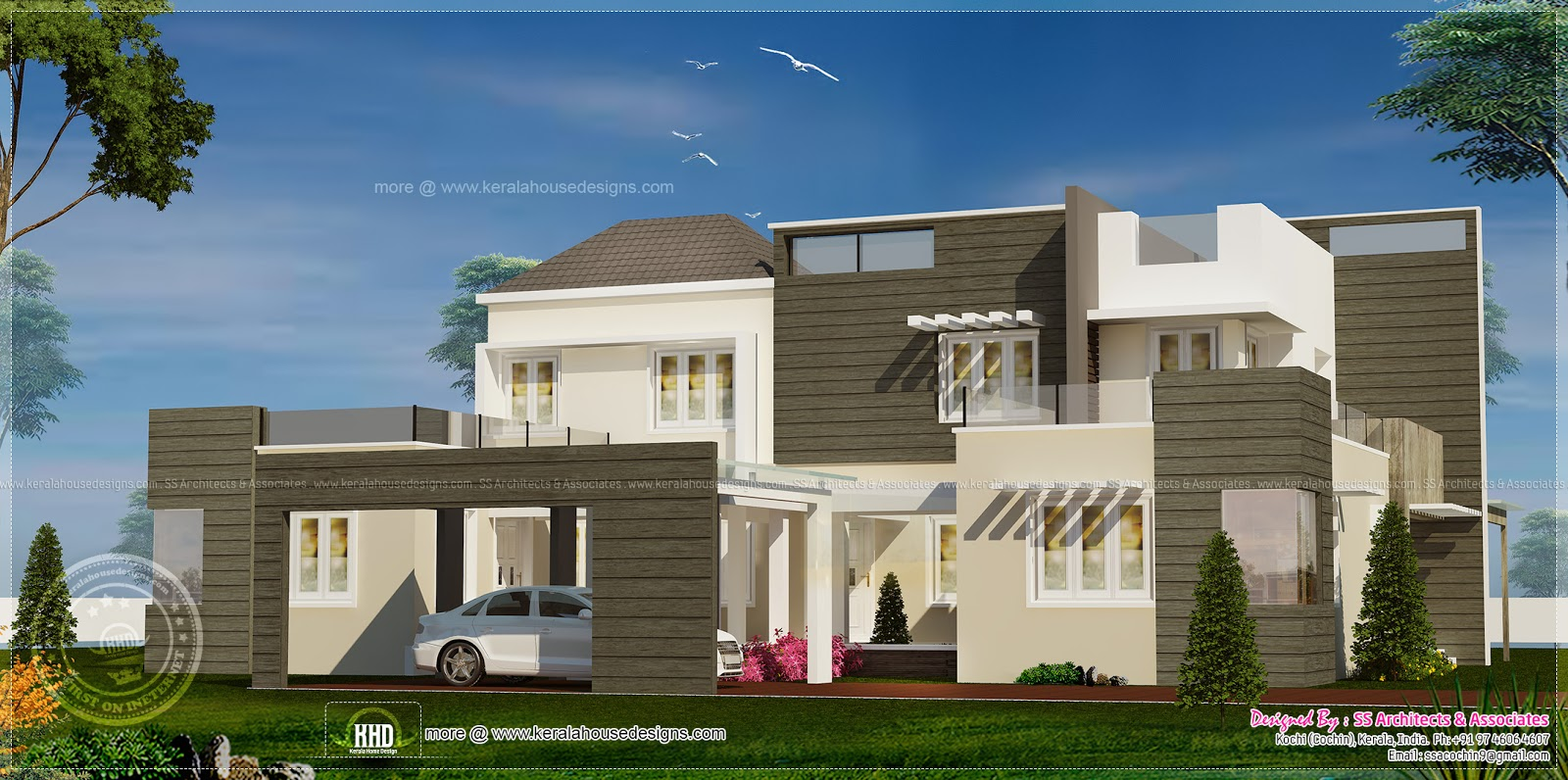 Flat Roof Villa Modern Contemporary Style Home Kerala Plans