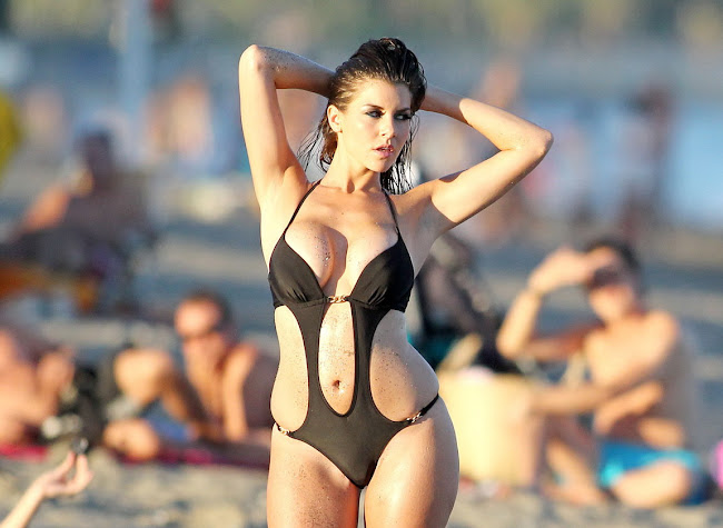 IMOGEN THOMAS in a sexy black Bikini Photoshoot on the Beach in Lanzarote