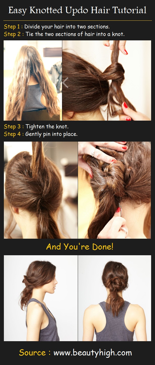easy knotted up do hair tutorial how to style step 1 divide your hair