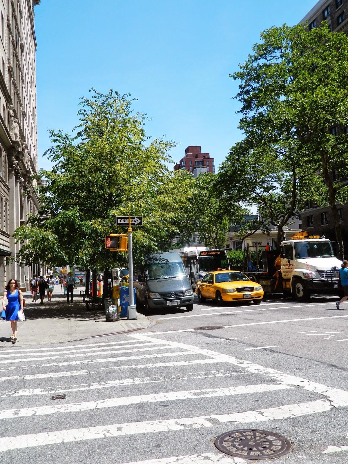 new york city street yellow taxi stop sign