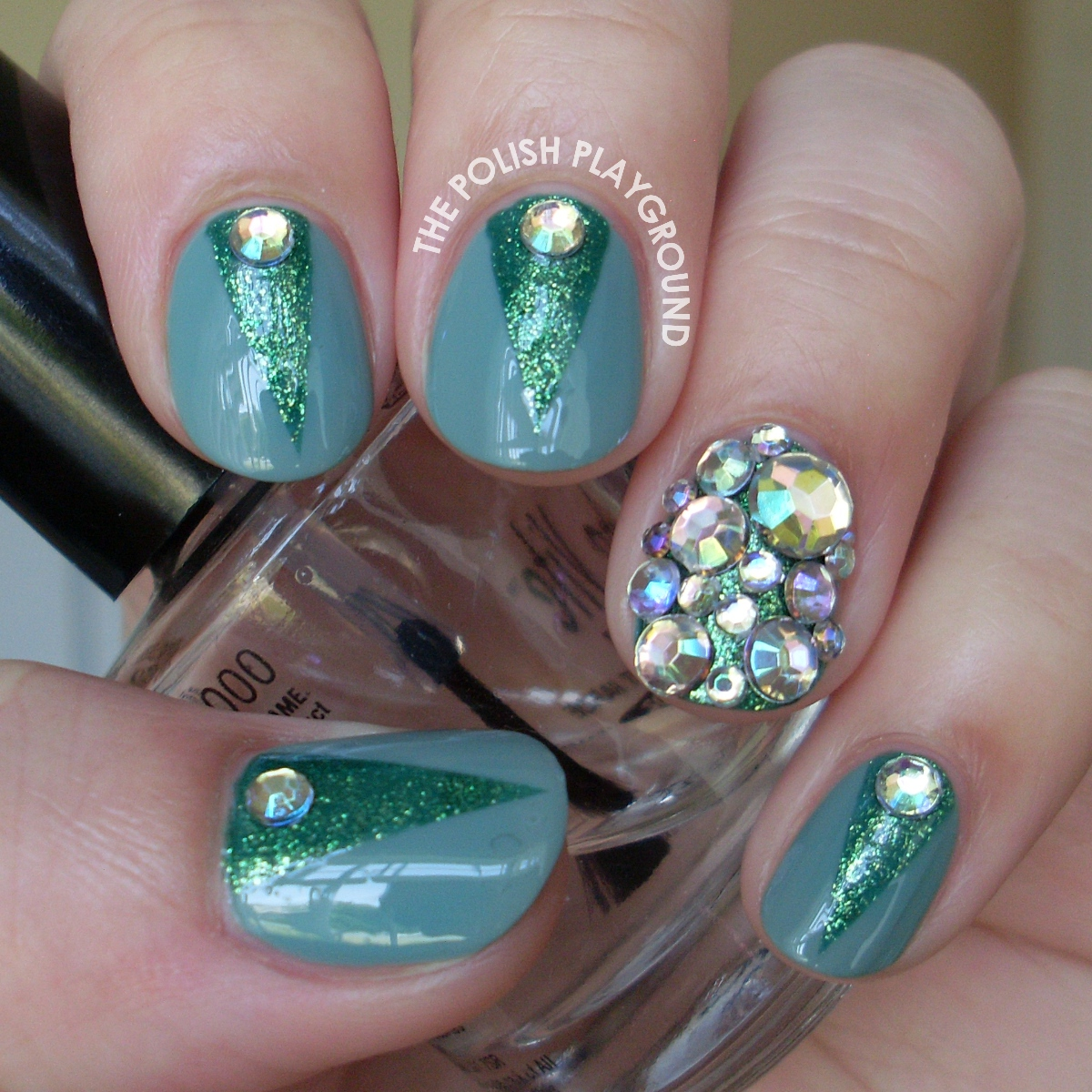 Green Color Block with Rhinestones Nail Art