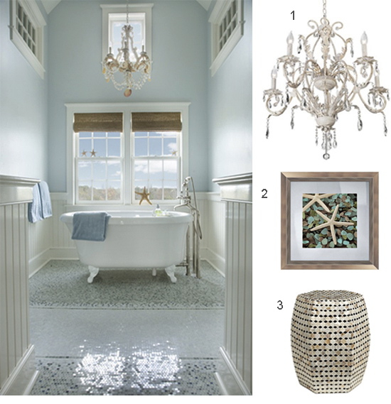 chandelier in coastal bathroom