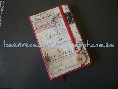 Cuaderno tipo Moleskine decorado con técnicas de Scrapbooking