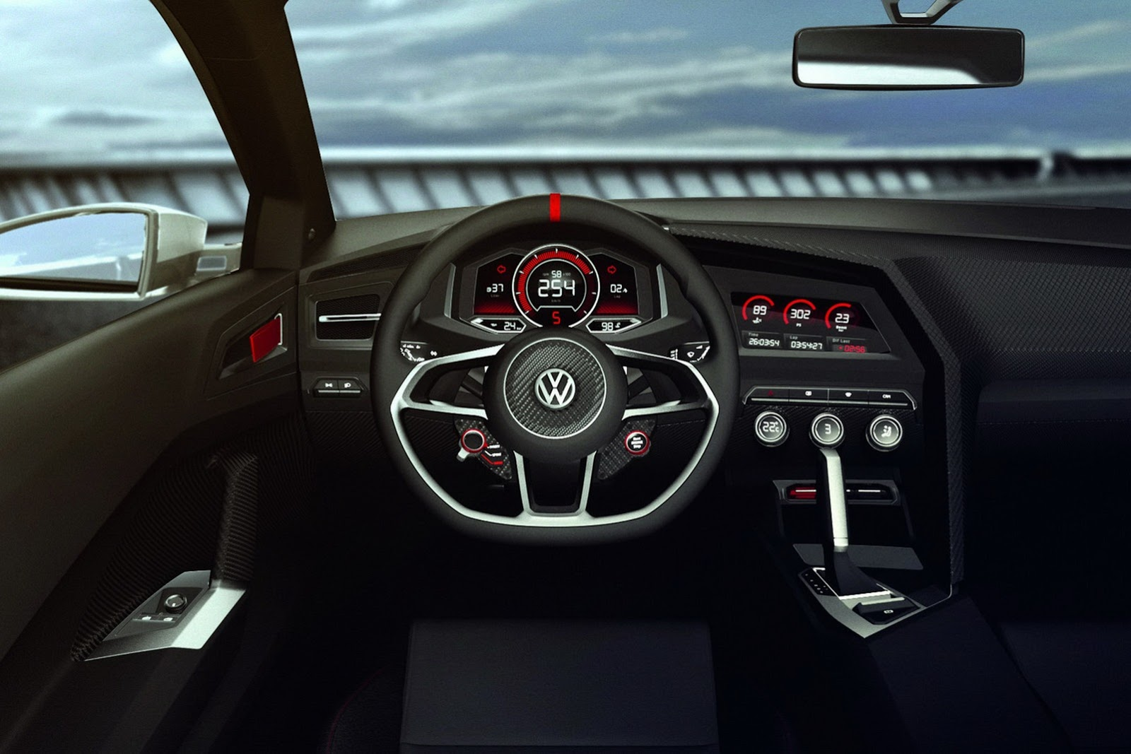New sketches of vw 39 s design vision gti concept are epic for Golf 8 interieur