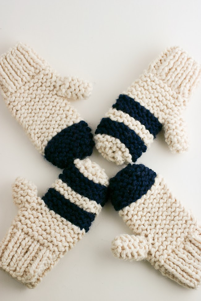 Knitting Patterns Striped Gloves : Garter Stitch Chunky Mittens, Striped or Color Block - A Quick Cozy Knit Gift...