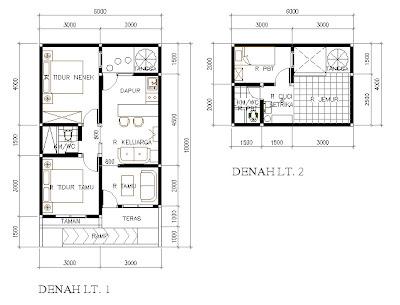 denah desain rumah kecil ukuran 60m2
