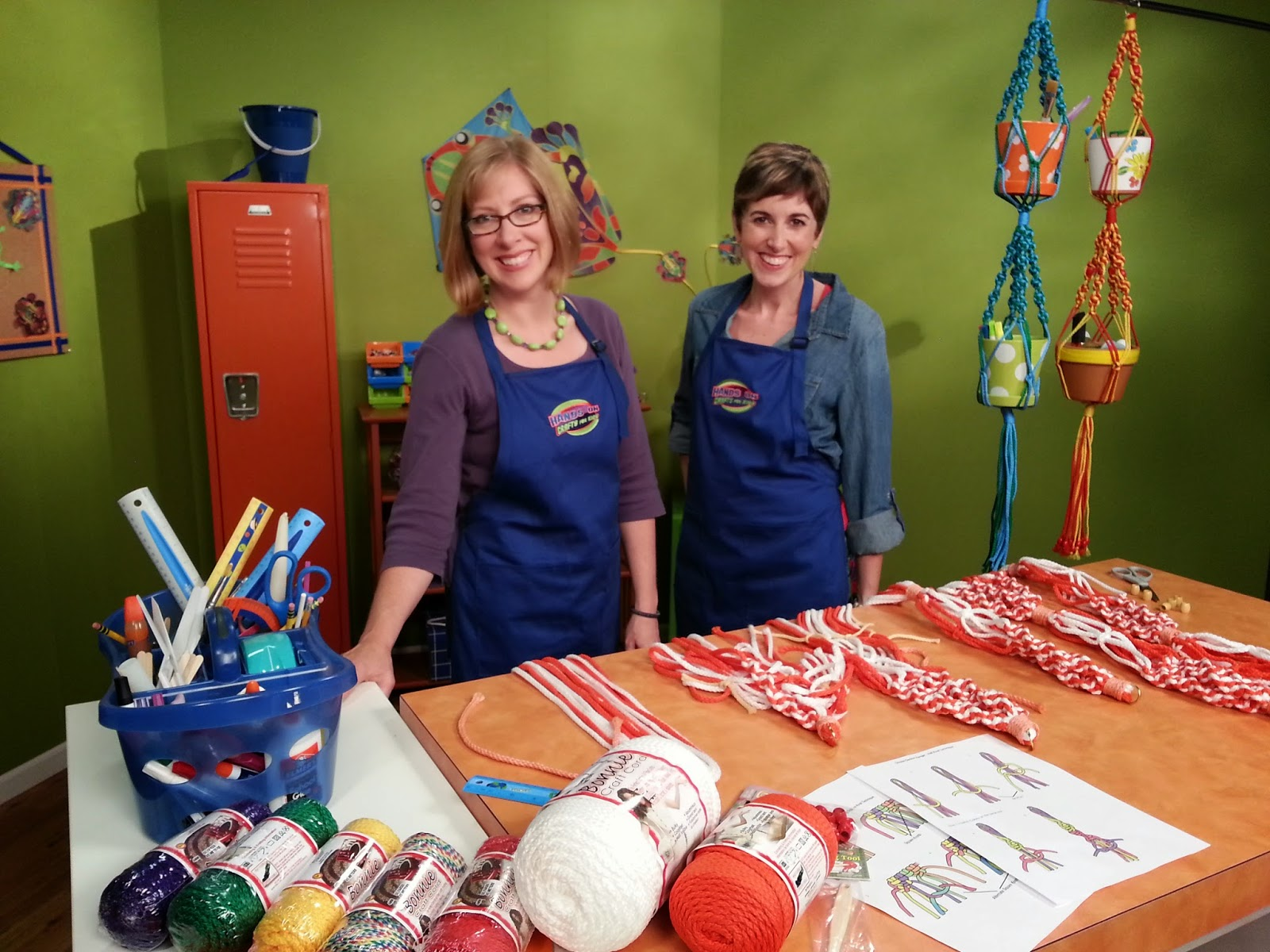 Katie Hacker (left) and Candie Cooper (right) on the set of Hands On - photo courtesy of Hands On Crafts for Kids
