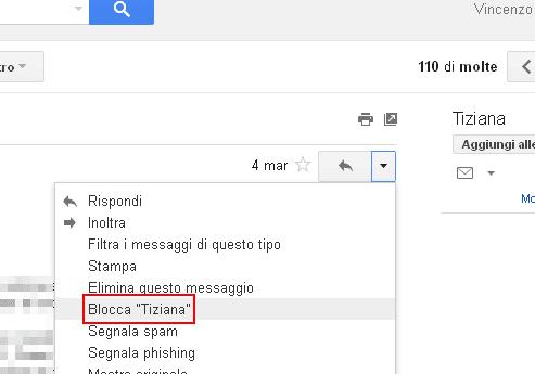 Gmail opzione Blocca mittente
