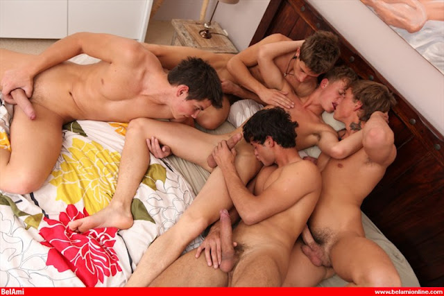 Blowjob Gay Orgy Action Gets
