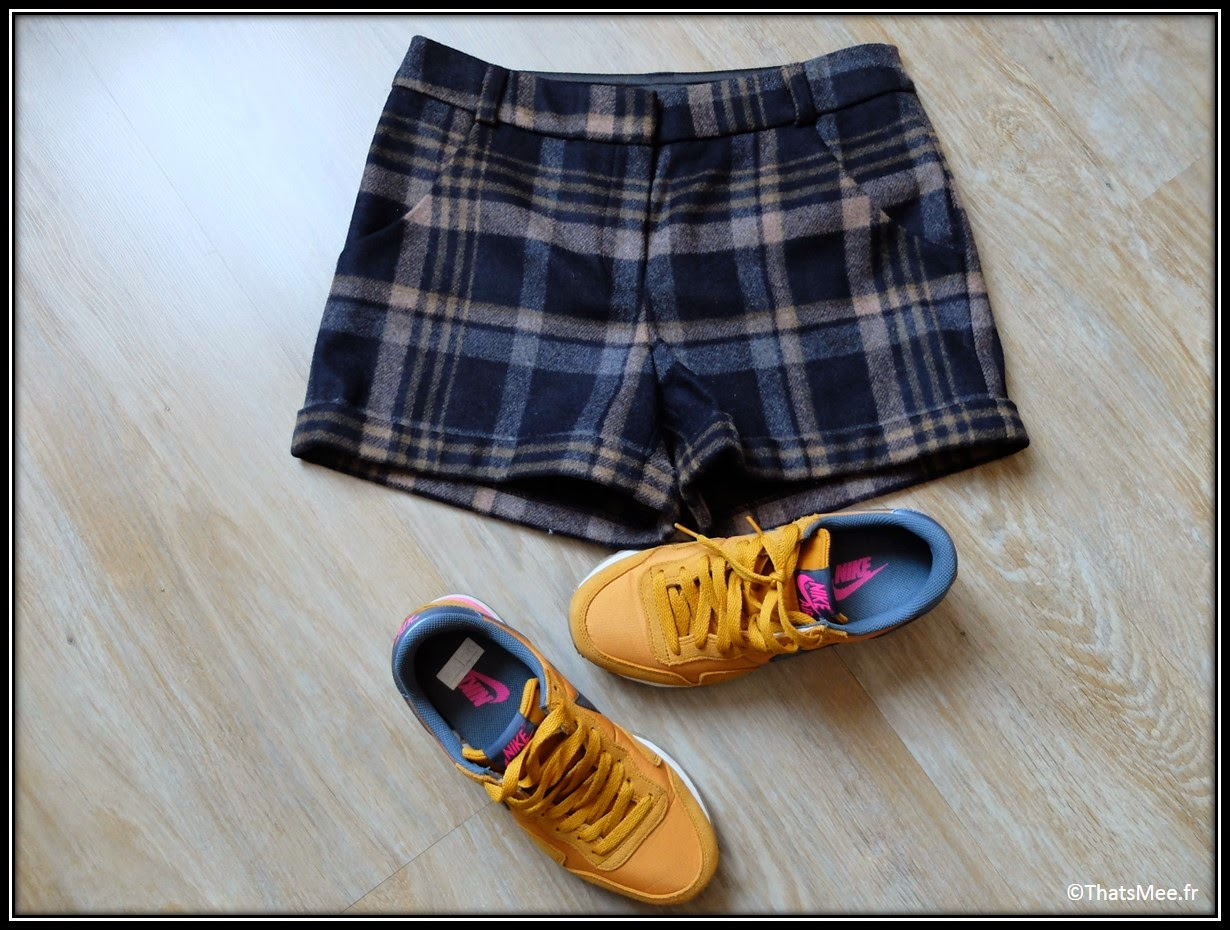 short naf Naf tweed carreaux laine bouillie hiver, Nike air jaune moutarde curry Foot Locker