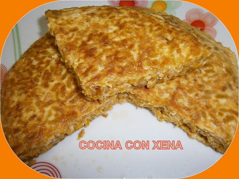 Cocina con xena tortilla de arroz y carne para los peques for Cocina de aprovechamiento