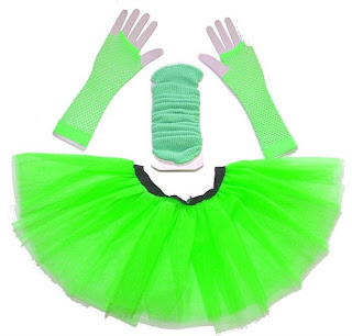 neon tutu, legwarmers and fishnet gloves