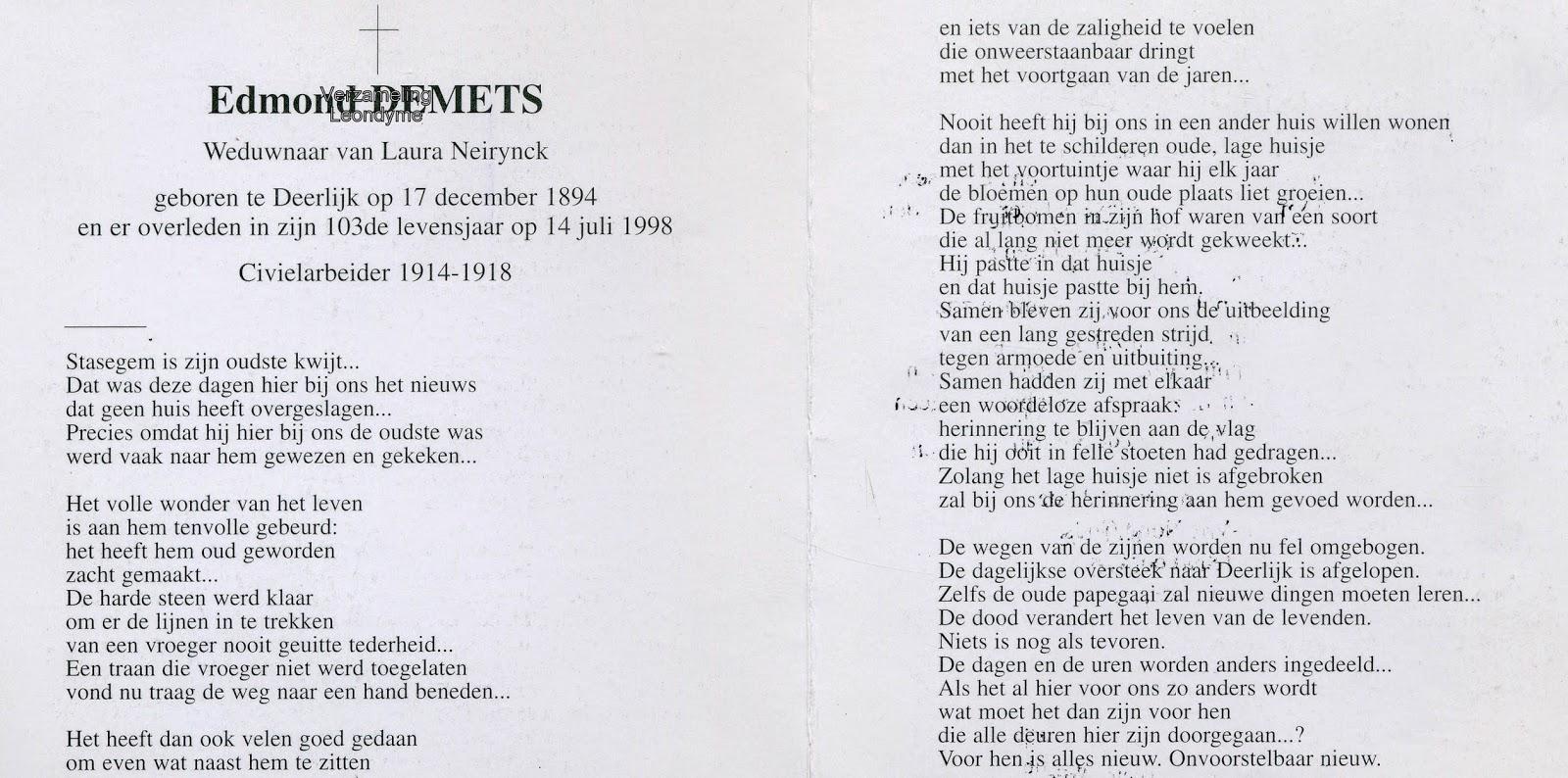 Bidprentje, Edmond Demets 1894-1998. Verzameling Leondyme