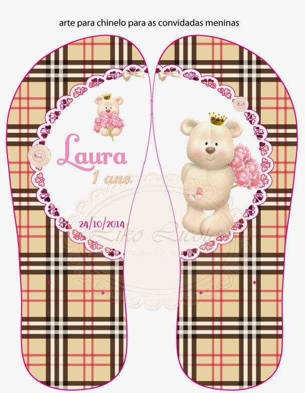 chinelos personalizados xadrez burberry e ursinha com coroa